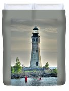 Lighthouse Just Before Sunset At Erie Basin Marina Duvet Cover