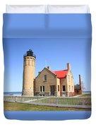 Lighthouse - Mackinac Point Michigan Duvet Cover