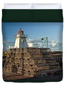 Lighthouse On A Channel By Cascumpec Bay On Prince Edward Island No. 094 Duvet Cover