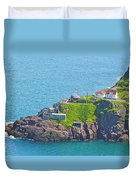 Lighthouse On Point In Signal Hill National Historic Site In Saint John's-nl Duvet Cover