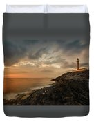 Lighthouse On The Coast, Ardnamurchan Duvet Cover