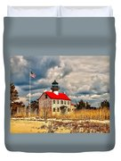 Lighthouse On The Delaware Duvet Cover