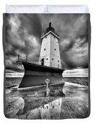 Lighthouse Reflection Black And White Duvet Cover