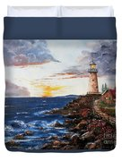 Lighthouse Road At Sunset Duvet Cover