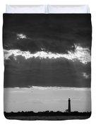 Lighthouse Sun Rays Bw Duvet Cover