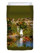 Lighthouse Through The Leaves Duvet Cover