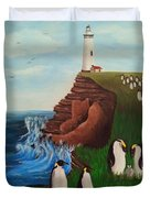 Lighthouse With Penguins Duvet Cover