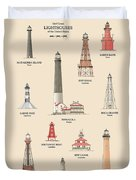 Lighthouses Of The Gulf Coast Duvet Cover