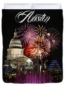Lighting Up Austin Duvet Cover