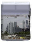 Lighting Work For The Singapore Formula One And A View Of The Helix Bridge Duvet Cover