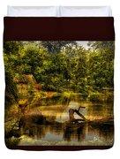 Lightning Strike By The Nature Center Merged Image Duvet Cover