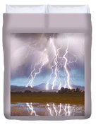 Lightning Striking Longs Peak Foothills 4c Duvet Cover by James BO  Insogna