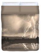 Lightning Striking Longs Peak Foothills Sepia 4 Duvet Cover