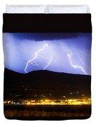 Lightning Striking Over Ibm Boulder Co 3 Duvet Cover