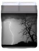 Lightning Tree Silhouette Black And White Duvet Cover