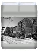 Light Rail Line And Old Downtown Buildings_bwhdr Duvet Cover