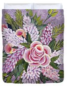 Lilac And Rose Bouquet Duvet Cover