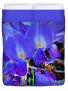 Lilac Blossom And Honey Bee Duvet Cover