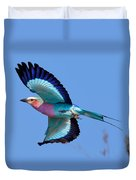 Lilac-breasted Roller In Flight Duvet Cover