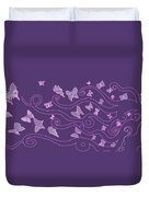 Lilac Silhouette Of Woman With Butterflies Duvet Cover