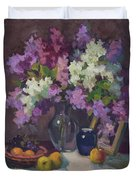 Lilacs And Blue Vase Duvet Cover