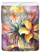 Lilies In A Vase Duvet Cover