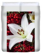 lily and Pyracantha Duvet Cover by Garry Gay
