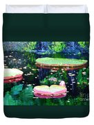Lily Leaves Painterly  Duvet Cover