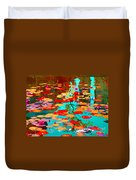 Lily Pads And Koi Colorful Water Garden In Bloom Waterlilies At The Lake Quebec Art Carole Spandau  Duvet Cover