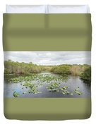 Lily Pads Floating On Water, Anhinga Duvet Cover