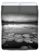 Lily Pads In The Glades Black And White Duvet Cover