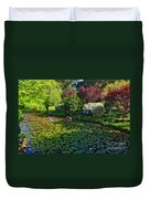 Lily Pond And Colorful Gardens Duvet Cover