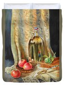 Lime And Apples Still Life Duvet Cover