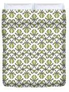 Lime Green And White Vines Duvet Cover