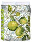 Limes On Damask Duvet Cover