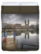 Limmat River Reflections Duvet Cover