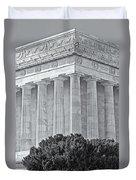 Lincoln Memorial Pillars Bw Duvet Cover