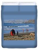 Linda Mar Beach Families Duvet Cover