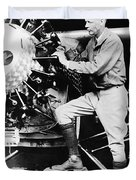 Lindbergh Tunes Up Plane Duvet Cover