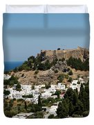 Lindos Acropolis Looking Seaward Duvet Cover
