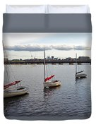 Line Of Boats On The Charles River Duvet Cover