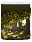Line Of Maple Trees Along Rural Road In Duvet Cover
