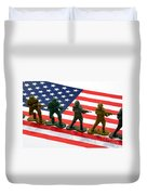 Line Of Toy Soldiers On American Flag Crisp Depth Of Field Duvet Cover
