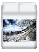 Linn Cove Viaduct Winter Scenery Duvet Cover