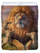 Lion And Lambs Duvet Cover