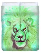 Lion Blue By Jrr Duvet Cover