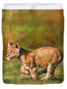 Lion Cub Running Duvet Cover