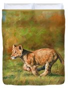Lion Cub Running Duvet Cover