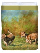 Lion Cubs Running Duvet Cover