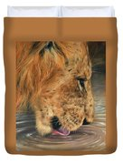 Lion Drinking Duvet Cover